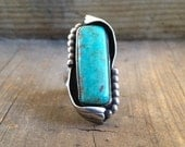 Signed vintage Navajo sterling silver turquoise long ring size 6.5, Native American turquoise and silver jewelry, American Indian, Old Pawn