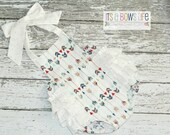 Vintage Arrow  Baby Girl Ruffle Bum Romper Retro Style Sunsuit Romper / Size 0-3m, 3-6m, 6-12m, 12-18m and 18-24m