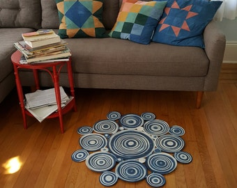 Hand Dyed Indigo Rope Coil Rug