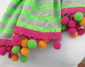 Extra Long Scarf, Jersey Knit Scarf, Green and Gray Striped Scarf, Colorful Pom Pom Scarf, Tween Girl Gifts, Teen Fashion, Novelty Scarf