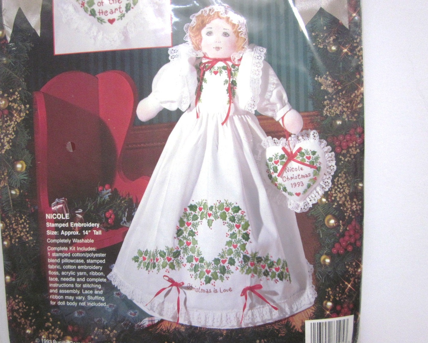 Nicole stamped embroidery doll kit bucilla nib