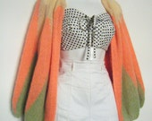 1950s Hand Knit Mohair COTTON CANDY CARDIGAN Argyle Sweater