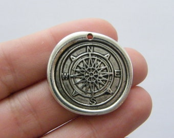 2 Waxed seal compass charms antique silver tone SC108