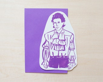 SALE - Jerry Seinfeld Greeting Card, Blank Card, Holiday Card, Blank Greeting Card, Handmade Card, Shape Card