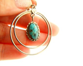 Turquoise Earrings - Sterling Silver - Native American - Vintage