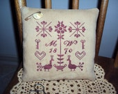 "Primitive Cross Stitched ""Mehitable Wright's Redwork Sampler"" Pinkeep"