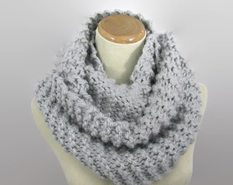 Knit Infinity Scarf, Gray Scarf, Knit Scarf, Knit Cowl, Snood, Gift Idea For Her, Women Scarf, Fashion Scarf, Circle Scarf, Hand Knit Scarf