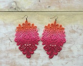Rose Paradise lace earrings/ New shades/ long earrings/Ombre effect earrings