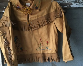 Vintage cowgirl outfit Little girls clothing size 5 Walls of Texas Native American costume fringed embroidered