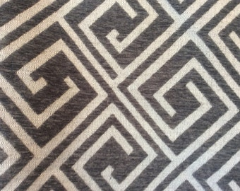 Soft Chenille GEOMETRIC Warm GREY CREAM Upholstery Fabric  08-14-23-1016