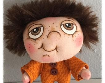 "OOAK Artist Miniature Cloth Pocket Doll baby boy ""Daniel"" only 3 1/2"" high!"
