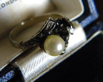 Antique 14k plus white gold pearl and diamond ring - alternative engagement ring wedding ring
