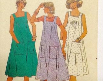1980s dress pattern, sundress, flared skirt, sleeveless beach cover up Butterick 6103 size Med 12, 14, bust 34, 36, vintage sewing pattern