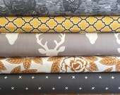SuperBowl Sale Buck Gray and Yellow, half yard bundle 6 total