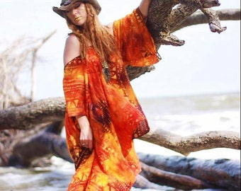 Plus size Boho Dress, autumn boho dress Bohemian Hippie mexicali dress, Batik gauze day tripper, Autumn gold, orange, True rebel clothing OS