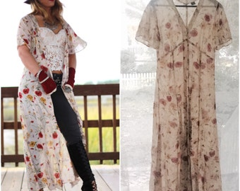 Fall Festival Kimono, Gypsy clothing, Boho chic vintage dress, Funky retro 90s duster, Bohemian floral dress duster, True rebel clothing Sm