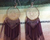 Vintage Beaded Dream Weaver Purple Earrings