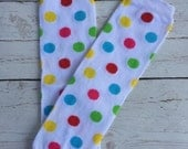 White with Colorful Polka Dots Baby Leg Warmers