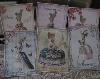 NEW french market assorted marie antoinette stickers set of 6 peel and stick