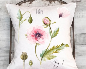 Pillow Cover Pink Poppy Floral