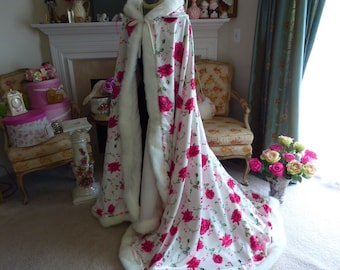 Floral Rose Bridal cape 52/65-inch Pink-Rose-Print / Ivory Satin wedding cloak Reversible (2-tone) Hooded with fur trim Handmade in USA