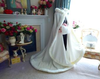 Victorian Winter Bridal cape Ivory / Ivory Satin 67 inch with Fur Trim Wedding Cloak Handmade in USA