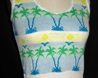 Vintage 1970s Knit Vest Tank Top Tropical Design Never Worn Size Small NOS