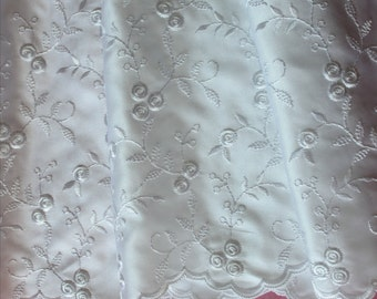 """White Scallop Floral Embroidered Floral Satin Fabric 56"""" Wedding Formal Per Yard"""