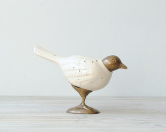 Vintage Ceramic and Brass Bird Figure