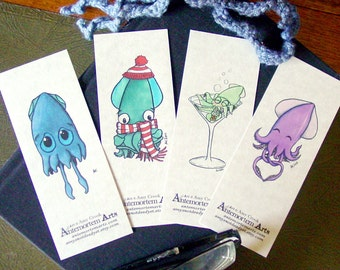 Squid Bookmarks - set of 4 - Sad Cold Drunk In Love Tentacles Cephalopods Cartoon