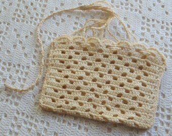 Vintage Purse Hand Crochet Drawstring Closure
