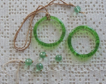 Vintage Glass Rings Green Shade Pulls 2 Pc