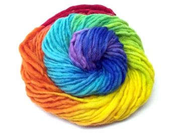 Handspun handpainted rainbow yarn, bulky weight in merino wool - 50 yards and 1.85 ounces/53 grams