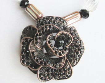 Sophisticated Diva Pendant/Necklace - Copper Rose Pendant with Black Crystals - Copper Metal Beads - Chic