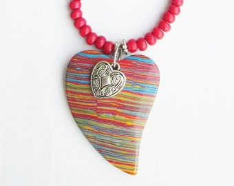 Heart and Soul Diva Necklace - Rainbow Striped Magnesite Heart Pendant - Red Magnesite Beads - Boho - Ooak - Nature Diva - Gift