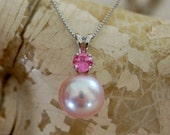 Pearl Pendant with Tourmaline accent