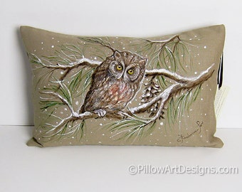Beige Linen Lumbar Pillow 12 X 18 Winter Scene Owl Pillow Hand Painted Free Shipping Made in Canada