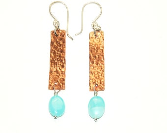 Mixed Metal Earrings- Copper and Sterling Silver - Peruvian Opal - Bar earrings - Rustic Jewelry - Hammered Metal