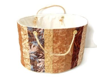 Bucket bag, cotton fabric tote basket, brown earth tones, toy storage, Autumn home decor, organizer bin, quilted patchwork, storage basket