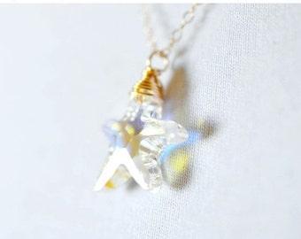 SALE Swarovski Crystal Starfish Necklace, 14k Gold Necklace, Crystal Sea Star Necklace, Nautical Jewery Wire Wrap 14k GF, Delicate Gold Chai