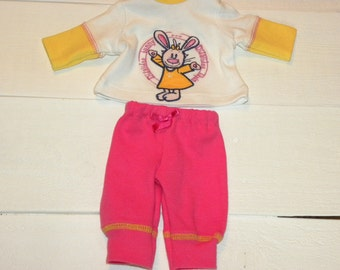 Little Bunny Tunic Top and Hot Pink Pants - 14 - 15 inch doll clothes