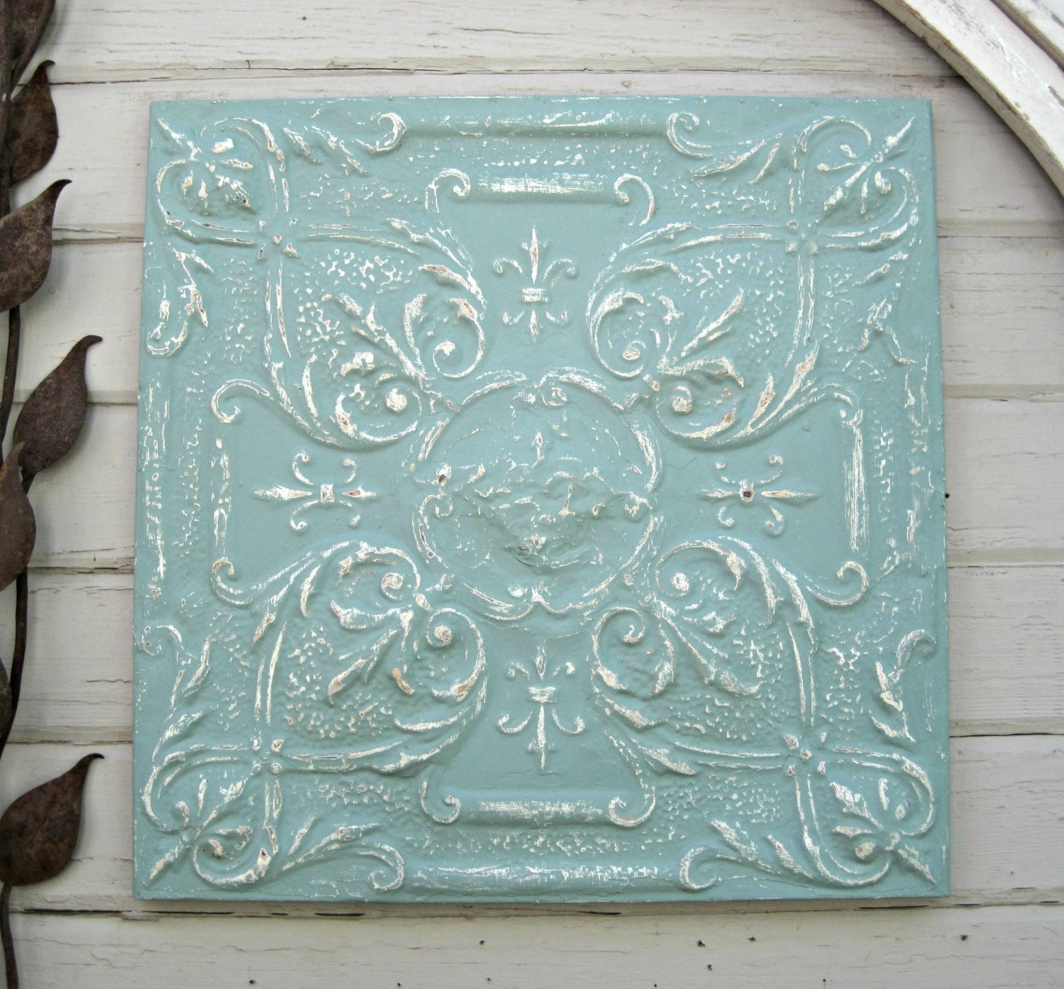 Antique Ceiling Tin Tile Framed Large Turquoise By