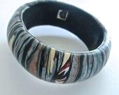 Denim Bangle, Stroppel Bangle, Striped Bracelet, Polymer Clay Bangle, Millefiori Bracelet, Handmade Bangle, Custom Jewelry, Wearable Art