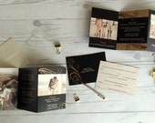 Black & Gold Wedding Invitation Suite -- Accordion Fold all in one invites -- tear off RSVP cards (177)
