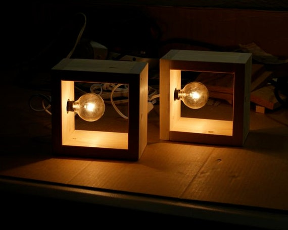Simple Modern Box Lamp Minimalist Lighting Wood Wooden Square
