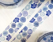 MiriKulo:rer Illustration Series Japanese Washi Masking Tape / Textile Blue Flowers for labeling, scrapbooking, packaging