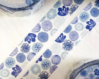 MiriKulo:rer Illustration Series Japanese Washi Masking Tape / Textile Blue Flowers for labeling, scrapbooking, packaging