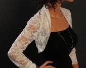 Ivory lace Shrug bolero jacket bridal shrug bridal accessories wedding jacket bolero SSL-IV