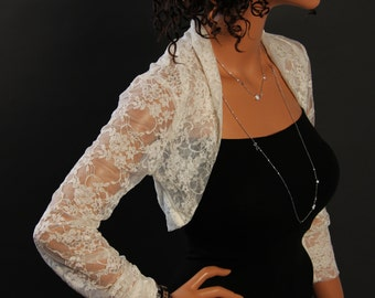 Ivory lace Shrug bolero jacket bridal shrug bridal accessories wedding jacket bolero SSL-IV