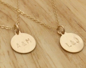 Simple Gold Necklace - Engraved Couples Initials Necklace - Personalized Gold Disc Engagement Gift Anniversary Bridal Shower Wedding Present